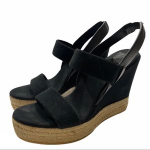 Tory Burch black espadrilles wedges sz. 7